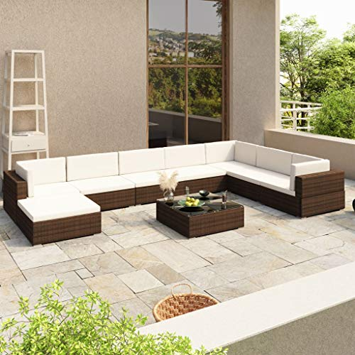 FANSI Rattan Garden Furniture Sets 8 PCS Modular Sofa Set Patio Conservatory Sofa Outdoor Sectional Corner Sofa with Cushions, Pillows and Glass-Top Coffee Table (Brown)