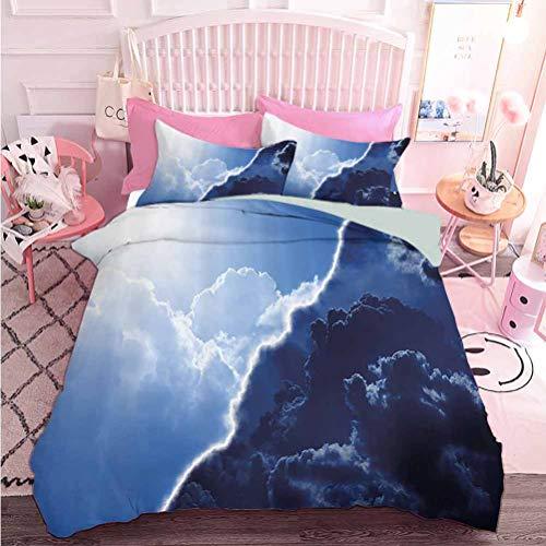 Hiiiman Home Textiles Juego de ropa de cama de ropa de cama circular redonda de color romántico sombrillas en la motivación del aire juego de funda de edredón de fotos