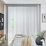 Yoolax Motorized Vertical Sheer Blind Works with Alexa, Light Filtering Double Layer Remote Power Vertical Blinds Custom Size, 50% Blackout Automated Window Shades for Sliding Glass Door (Light Grey)