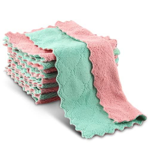 10 Paños de Cocina,Paños de Limpieza de Microfibra, Toallas de Cocina (Microfibra, Absorbentes y Sin Pelusas) - Paño de Limpieza para Pantalla, Espejo, Ventana, Multicolor Terciopelo Coralino