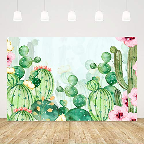 Floral Cactus Backdrops for Parties Watercolor Cactus Baby Shower Background for Girl 5X3ft Cactus Backdrop Bridal Shower Cactus Photo Backdrop Mexican Cactus Party Decorations Birthday Party Favors