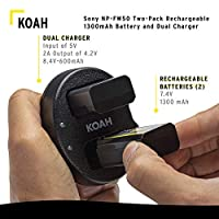 Koah PRO Two-Pack Rechargeable 1300mAh Battery and Dual Charger for Sony NP-FW50