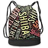 ジムサック Shiiba 椎葉村 ナップサック 巾着袋 サブバッグ 超軽量 バッグ 男女兼用 大容量 Black One Size