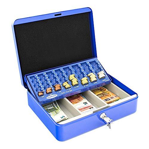 HomeDesign valigetta porta contanti HomeDesignKey HDK-3000-Blu, in acciaio, compartimentata, con vassoio portamonete scorrevole, serratura a cilindro, maniglia per facile trasporto, blu.