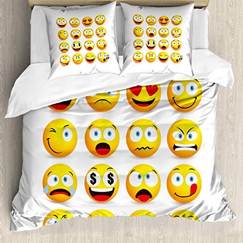 ABAKUHAUS Emoticon Funda Nórdica, Rostros sonrientes Composición, Estampado Lavable, 3 Piezas con 2 Fundas de Almohada, 155 cm x 220 cm, Multicolor