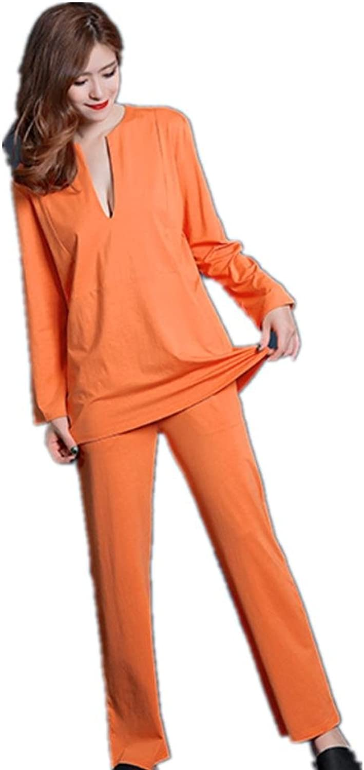 DMMSS Women 'S New Home Suits Long  Sleeved Solid color Pajamas 2  Piece Deep V  Neck Pajamas Suit