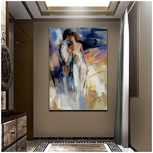 W15Y8 Amante Abstracto Beso Pintura Retrato Moderno Cartel Arte Decoración Del Hogar Impresión En Lienzo-50X70Cm Sin Marco