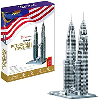 Petronas Towers - World Great Architecture - 86 Pieces 3D Puzzle - Cubic Fun Series