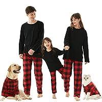 お揃いファミリークリスマスパジャマセット バッファローチェック 2ピース ホリデーパジャマ ボタンアップ ジャミー 寝間着 大人 子供 ペット US サイズ: Medium カラー: ブラック