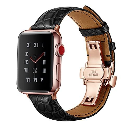 Correa Reloj para Apple Watch Series 1/2/3/4/5/6/SE, Compatibilidad iWatch 38mm 40mm/42mm 44mm con Hebilla de Acero Inoxidable, Cocodrilo Cuero Genuino Correa de Reloj,Black,38mm/40mm