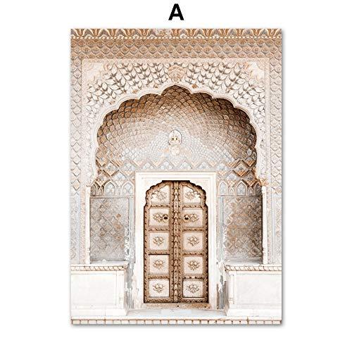 Canvas schilderij decoratie, Marokko Deur Taj Mahal Wall Art olieverf Nordic Posters Prints Classic Bouwmuur foto's for Living Room Decor van het Huis (Color : A, Size (Inch) : 40X50 cm)