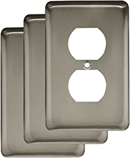 Franklin BrassW10249V-SN-C Stamped Steel Round Single Duplex Outlet Wall Plate / Switch Plate / Cover, Satin Nickel, 3-Pack