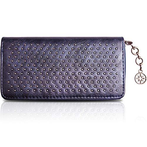 Donna Diamante Borsellini Portamonete Portafogli multi slot per schede e tasca con cerniera lucido