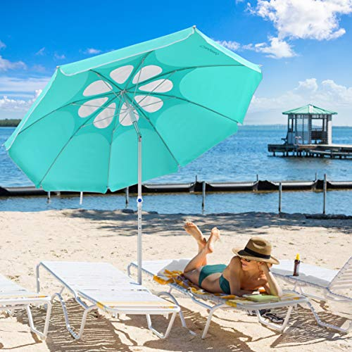 CLISPEED 7 Feet Beach Umbrella with Tilt Aluminum Pole, Flower Vents Design Windproof Patio Umbrella UV 50+ Protection Sun Shelter for Sand and Outdoor Activities