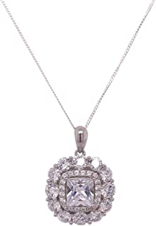 Bevilles Sterling Silver Cubic Zirconia Multi Halo Necklace XX9203/XX1460 Pendant