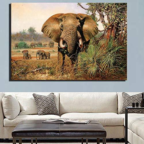 SADHAF Afrikanischer Elefant im Wohnzimmer Wanddekoration Poster Klassische Tier Leinwand Malerei Typografische Dekoration A5 60x90cm
