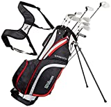Wilson, Set completo para principiantes, 10 palos de golf de medida extendida (1 pulgada) con bolsa de transporte, Hombre (mano derecha) Stretch XL, Negro/Gris/Rojo, WGG157549