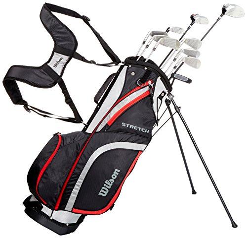 Wilson Anfänger-Komplettsatz, 10 um 1 Inch verlängerte Golfschläger mit Carrybag, Herren, Rechtshand, Stretch XL, schwarz/grau/rot, WGG157549