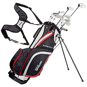 51XEpncv0KL. SS300  - Wilson, Set Completo para Principiantes, 10 Palos de Golf con Bolsa de Transporte, Hombre, Stretch XL, Negro/Gris/Rojo