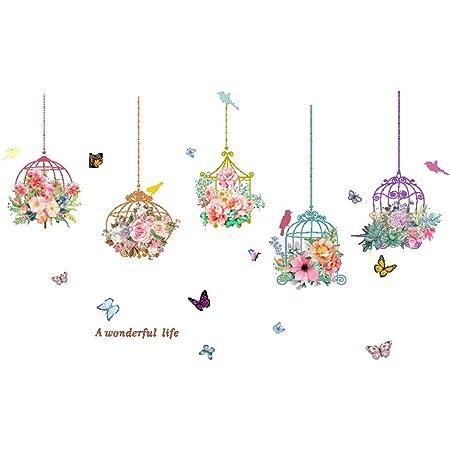 Lace Flowers Wall Stickers Cute Cartoon  DIY Decal Window Glass Wall Decor J