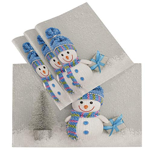 Happy Snowman Christmas Snowflake Vintage ation Placemats for Dining Table Set of 6 Heat Resistant Table Mat Washable Non Slip Large Fabric Coffee Kitchen Square Plate Mat Personalized Decorative