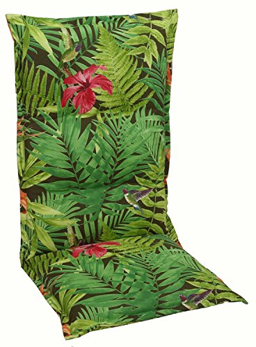 Sesselauflage Sitzpolster Gartenstuhlauflage für Hochlehner | B 50 cm x L 120 cm | Mehrfarbig | Baumwolle | Polyester