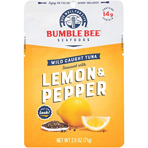 BUMBLE BEE Lemon & Pepper Seasoned Tuna, 2.5 oz. Pouch with Spoon (Pack of 12), Wild Caught Tuna Fish, Tuna Pouch, High Protein, Keto Food, Keto Snack, Gluten Free, Paleo Food