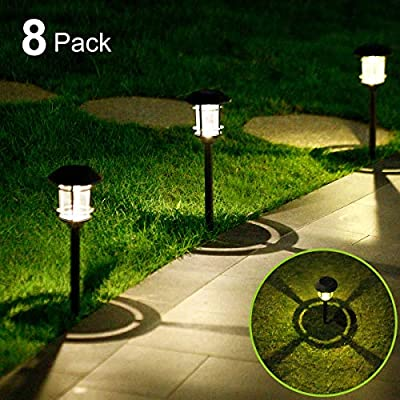 Solar Lights Outdoor Solar Powered LED Garden Lights 6 Lumens Warm White Lighting Auto On/Off Solar Landscape Lighting Waterproof Solar Garden Lights for Lawn Patio Yard Pathway