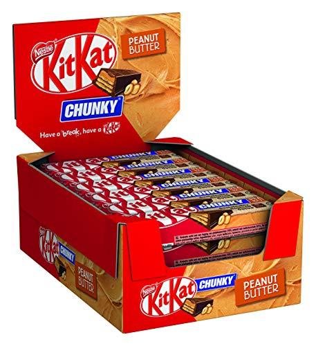 Nestlé KITKAT CHUNKY Peanut Butter Schokoriegel mit Erdnusscreme, 24er Pack (24 x 42g)