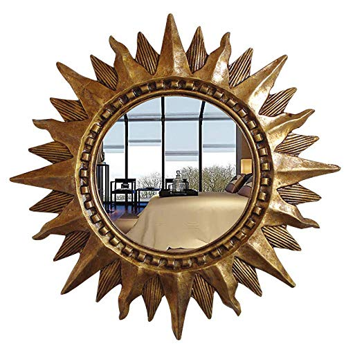 PIVFEDQX Espejo de Pared Vintage Espejo Dorado Espejo Barroco Espejo de baño de Sol