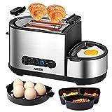 Aicok Toaster, eierkocher, 5 in 1 Multifunktions-Toaster mit Eierkocher,Edelstahl Mini-Pfanne, Dampfgarer, 2 extra große Schlitze, mit brötchenaufsatz, 7 Bräunungsstufen, BPA-frei, 1250 W