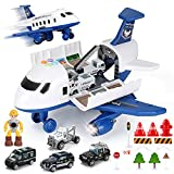 19 Pack Transport Police Airplane Toy Play Vehicles Set for Kids Gifts, with 6 Police Die-cast Toy Cars, 11 Road Signs-Suitable for 3 4 5 6 Year Old Boys and Girls