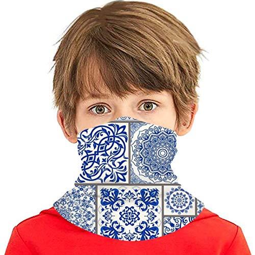 Patchwork Fliesen viktorianische Motive Majolika blau Gesicht Schal Abdeckung Kinder Gesicht Abdeckung Variety Hals Stirnband