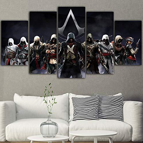 DYCUN Leinwand Wandkunst, 5 Stück Spiel Poster Assassins Creed Malerei HD Poster Ölgemälde Schwarz Kunst auf Leinwand Wandbilder for Wohnzimmer Hauptdekoration Leinwand Gemälde