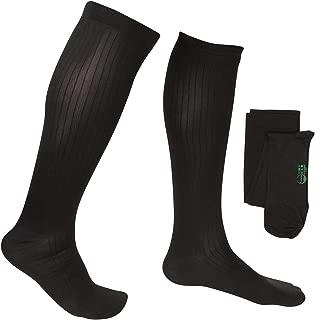 EvoNation Men's USA Made Graduated Compression Socks 8-15 mmHg Mild Pressure Medical Quality Knee High Orthopedic Support Stockings Hose - Best Comfort Fit, Circulation, Travel (Large, Black)