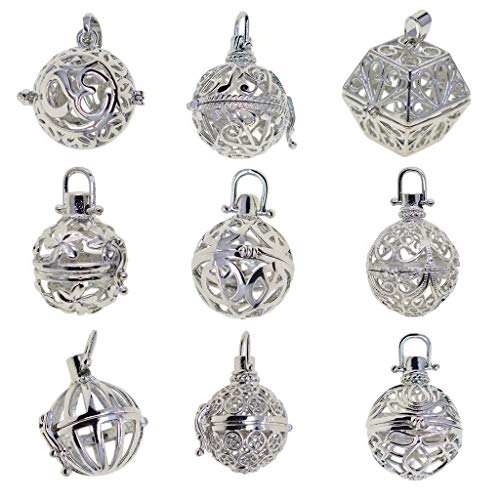 Harilla 9x Pearl Bead Silver Memory Locket Cage Pendant Charms Necklace Gift