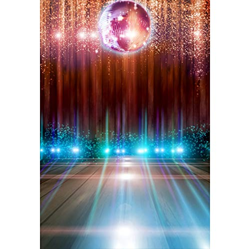 Leyiyi Disco Party Stage Backdrop 3x5ft Photography Backdrop Sparkling Nightclub Spotlight Virtual Halo Sparkling Defocus Spots Red Curtain Satge Performance 70s 80s 90s Theme Dance Hall Backdrop