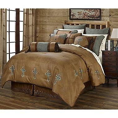Turquoise Cross Western 5 Piece Super King Comforter Bedding Set Includes: (1 Comforter, 2 Pillow Shams, 1 Bedskirt, 1 Neckroll Pillow) - SAVE BIG ON BUNDLING!