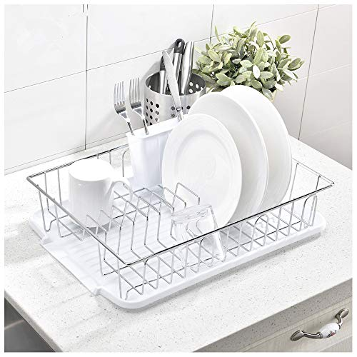 CASILVON Dish Rack YHWC001W White Kitchen Over The Sink Dish Drying Rack 3 Piece Sturdy Stainless Steel Dish Rack with Drainboard and Utensil Holder Separate Fork and Knife Storage Box