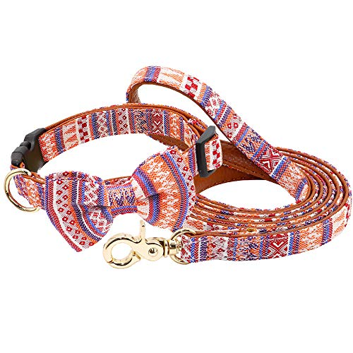 MCPPP Collar de Perro Impreso, Nylon Perro Pie Foot Correa Cuello Pet Correa para Perrito Pequeños Perros Medianos Chihuahua Bulldog Pitbull Francés,Rosado,31~46cm