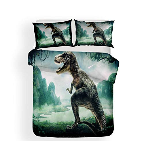 Duvet Cover Set with Zipper Dinosaur Mountain View 3Pcs Bedding Quilt Cover Set with Pillowcases for Teens Kids Boys Girls, Hypoallergenic Durable Microfiber 78.7x78.7inch