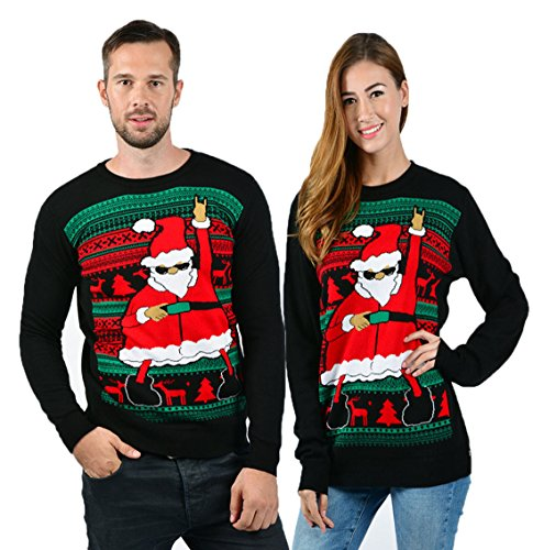 uideazone Men Women Funny Dabbing Santa Ugly Christmas Party Knitted Sweater, Black 8, X-Large
