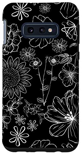 Galaxy S10e Black and White Wildflower Pattern Phone Case