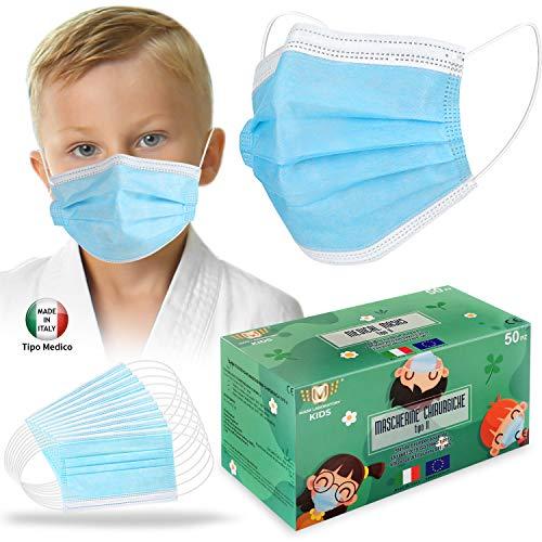 50 Pezzi Facciale protettiva personale Bambini, Made Italy Tipo 1 Medico, Nasello Regolabile, Magazzino italiano In Consegna 48 ore