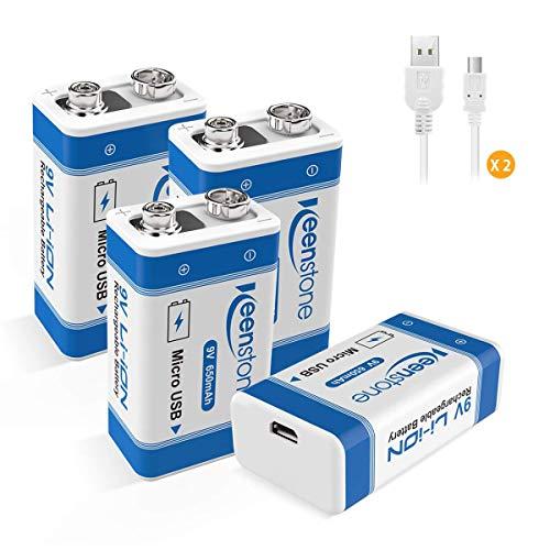 Keenstone 9V USB Batterie Ricaricabili, Confezione da 4 pezzi, 650mAh Li-ion con 2 pezzi Cavi Micro USB, 2 modi di ricarica e 500 cicli, per Multimetro, Rilevatore di fumo, Walkie-talkie