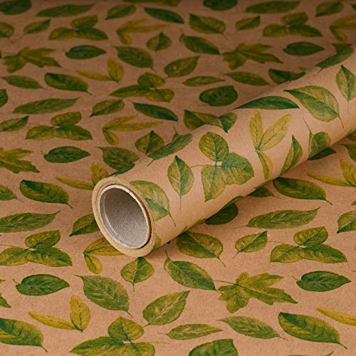 Geschenkpapier Grüne Blätter, Kraftpapier, glatt, 60 g/m², Geburtstags-papier, Vintage-Stil - 1 Rolle 0,7 x 10 m
