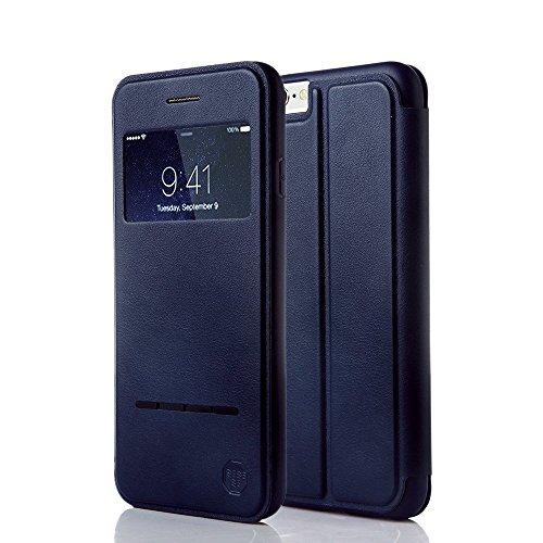 NOUSKE - Étui Smart Touch pour iPhone 6/6S - avec fenêtre sur Le Rabat, Fermeture magnétique, Support, Coque en TPU - Protection à 360° - Noir
