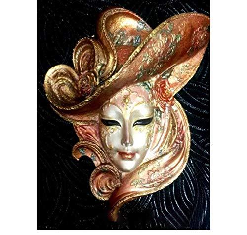 N / D Pintura Bordados estrás-Mujer con Sombrero DIY 5D Kit de Pintura de Diamante Cuadros de Punto de Cruz Suministros de Arte manualidades-16 x 20 Pulgadas. Sin Marco