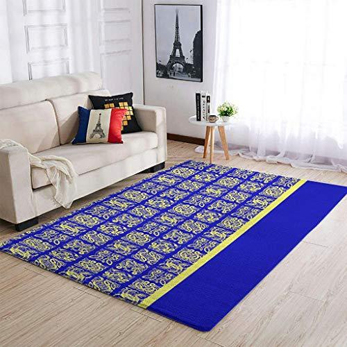 AXGM Alfombra con diseño de tatuaje vikingo azul y amarillo, para dormitorio, salón, dormitorio, porche, decoración blanca, 122 x 183 cm