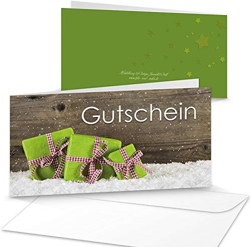 Logbuch-Verlag 10 Gutscheine Weihnachten Kundengutschein Geschenkgutschein 21 x 10,5 cm DIN MIT KUVERT Einkaufsgutschein weihnachtlich hell grün weiß rot